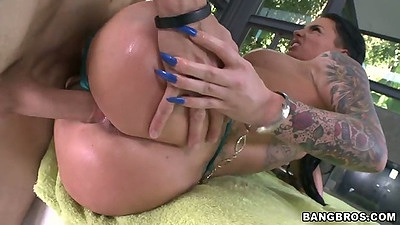 Sideways sex with oiled up ass Christy Mack