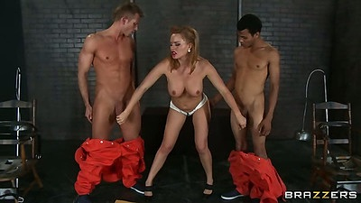 Handjob from medium tits Krissy Lynn for two prison inmates