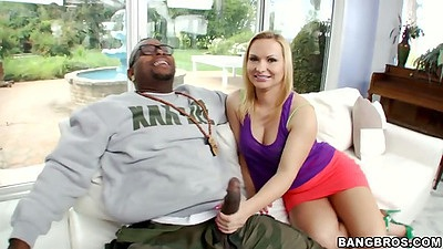 Katja Kassin fully clothed handjob and sucking big black cock