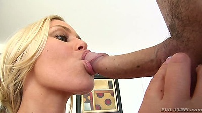 Big dick blowjob from Nicole Aniston with great sucking on balls