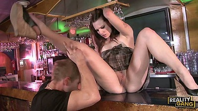 Half dressed Bailey Blue spreads legs and raises skirt for guy