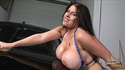 Big tits Daphne Rosen bikini carswash dripping wet and horny