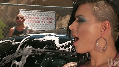 Outdoor car wash from Eva Angelina in her tight bikini