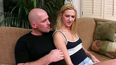 Blonde Ashley Long gets guys hand up her miniskirt