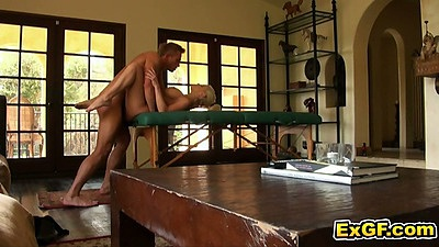 Massage table sex with Tia M. getting drilled