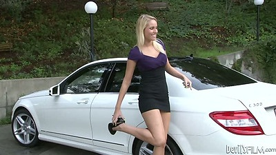 Outdoor Aubrey James and Vanessa Cage get out of car for group 2 on 1 sex