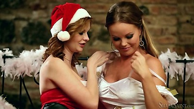 Tara White and Silvia Saint lesbians santas helpers getting naked for sex