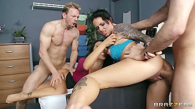 Standing fuck at doctors office with Christy Mack and Asa Akira