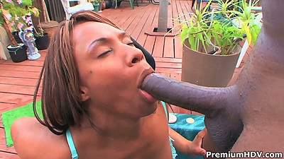 Ebony milf Blaze outdoor blowjob and big ass fuck