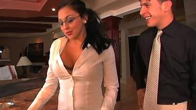 Audrey Bitoni in her glasses sucks dick