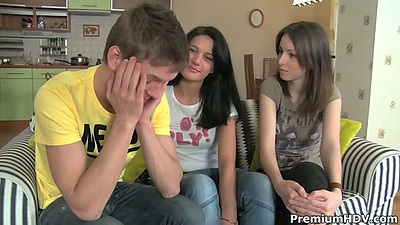 Threesome with two cute teen Kani and Yanie
