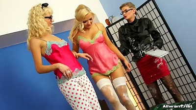 Dina and Jenna Lovely and Victoria Puppy in lingerie showing body