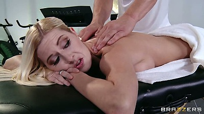 Massage for cheerleader Riley Evans