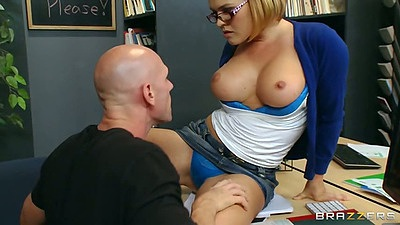 Krissy Lynn half dressed on teachers desk