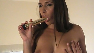 Sucking dildo Zafira and touching natural tis