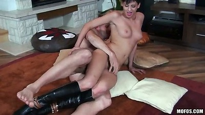 Sideways petite fucking Coco De Mal with a close up and blowjob