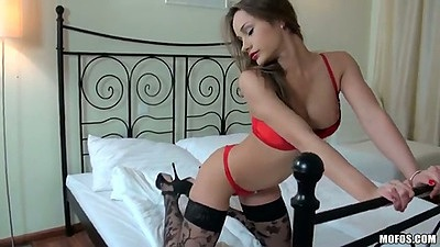 Lingerie babe Ashley sucking dick