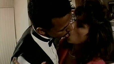 Classic interracial kissing scene with Lana Sands