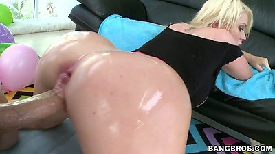 Doggy style sex with oil for Alexis Ford including finger up ass