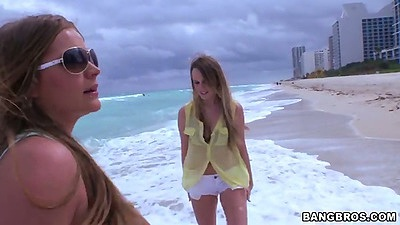 Public beach outdoors with lesbian group of Mercedes Lynn and Alexis Adams and Tiffany Tyler