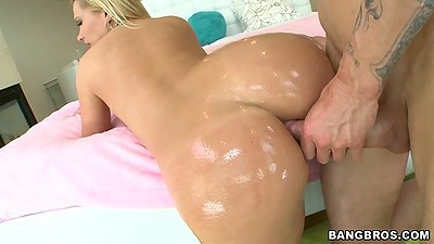 Oil anal fuck with Katja Kassin standing up