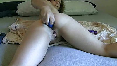 Self anal masturbation with GreenEyed and dildo up own ass