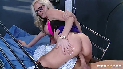 Cowgirl doctor sex with Alena Croft on hospital bed