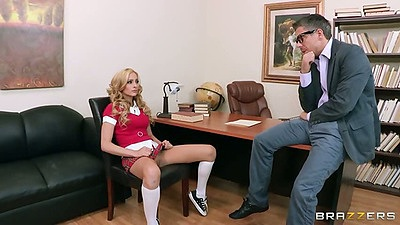 School girl Nikki Seven in teachers office for student fuck