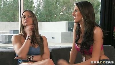 Lesbian babes Kortney Kane and Rachel RoXXX undressing touching each other