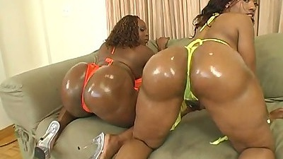 Rough ebony oiled up booty in bikini with Cherokee D Ass and Skyy Black