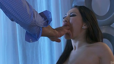 Asian Asa Akira getting a mouthful of fingers to suck with some dick