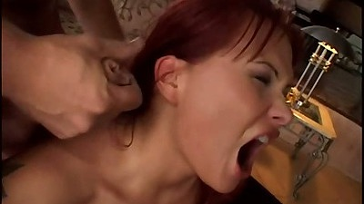 Redhead gets rough sex hair pulling and gang bang anal