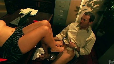 Footjob with Lorelei Lee on office desk followed by anal rear entry