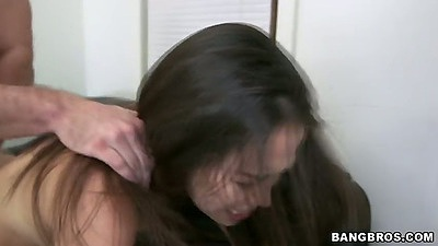 Rough fucking asian Lily during first sex video audition