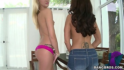 Undressing and blowjob from milf and teen Roxxi Silver and Ava Addams