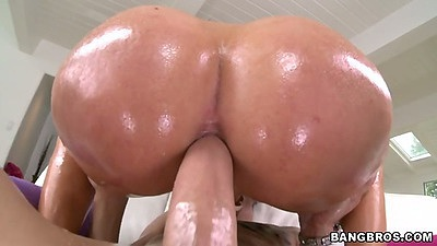 Tight but round ass oil anal cowgirl fuck with Savannah Fox and a2m