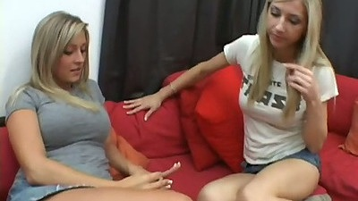 Two cute lesbian sluts fully clothed Carmen & Sammie stripping each other