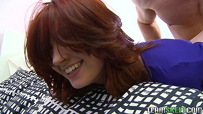 Redhead Alana Rains blowjob and handjob with kissing and some cfnm