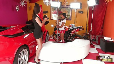 Asian strippers Lana Violet and Beti Hana dancing with a pole
