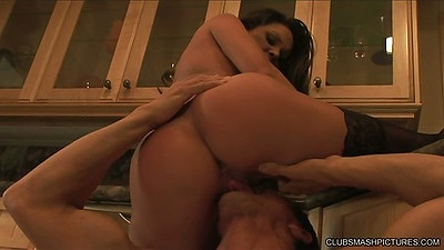 Big ass milf Stephanie Swift gets pussy licked and sucks on kitchen floor
