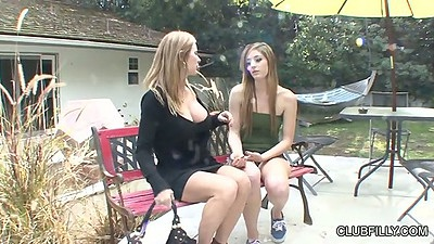 Outdoor lesbian milf Casana Lei and Amber Michaels