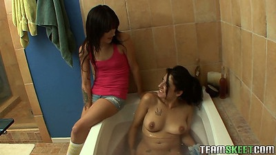 Bathroom shower lesbian pussy licking with Lilly and Laney