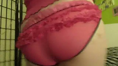 Sexy ass lingerie amateur with natural tits hanging out and sex toy