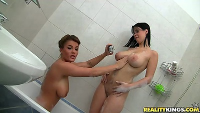 Amy Wild and Amy Wild euro lesbian shower washing each other tits with soap