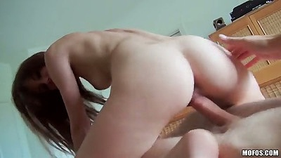 Reverse cowgirl Kaci Marie getting nailed
