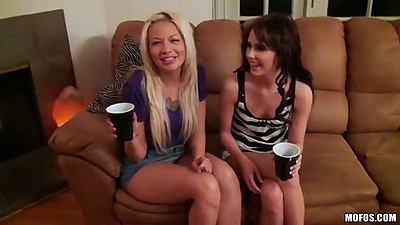 Evilyn Fierce and Coco Velvet with Kelly Klass college party in sexy miniskirts