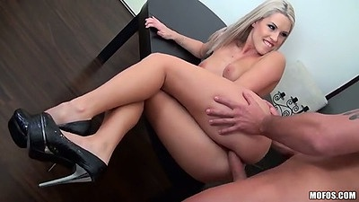 Sideways fucking blonde Blanche Bradburry on a table