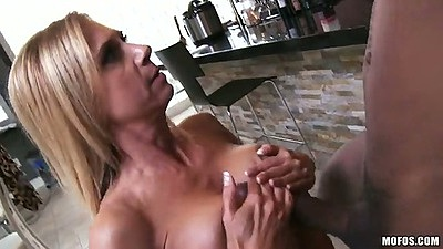 Milf interracial titty fuck and blowjob with sucking the ball sac with Brooke Tyler