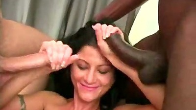 Handjob and big dick gang bang suck from Tayna