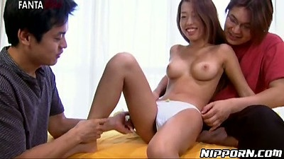 Hairy asian medium tits girl Keiko fingered and played with in threesome